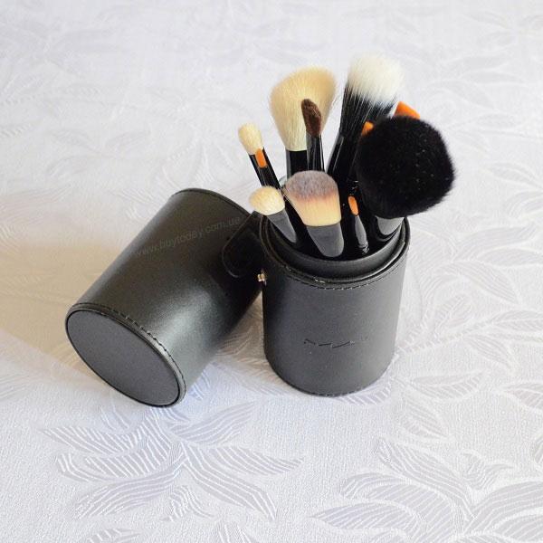 кисти мак в тубусе, набор кистей мак 12 штук в тубусе, кисти mac, кисти для макияжа mac 12 штук